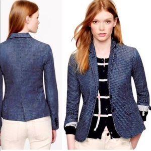 J CREW Schoolboy Blazer Jacket Indigo Polka Dot